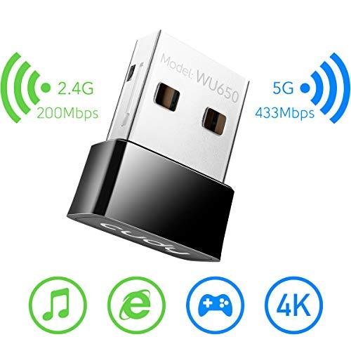 Cudy WU650 AC650 650Mbit/s USB WLAN Stick, WLAN Adapter für PC - Nano-Größe | Kompatibel mit Windows XP / 7/8 / 8.1/10, Mac OS 10.6-10.11