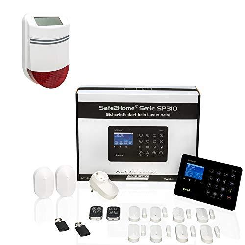 Safe2Home® Funk Alarmanlagen Großes Set SP310 Profi - Solar Sirene - Roling Code - wechselnde Kanäle deutsch GSM Alarmsystem - SMS Alarmierung - Alarmanlagen fürs Haus Büro