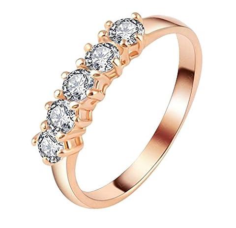 Bishilin 18K Rose Gold vergoldet weiß Zirkonia CZ Ewigkeit Paare Ringe Engagement Hochzeitsband Größe 60 (19.1)