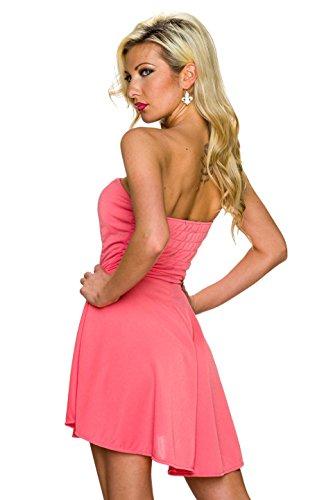 Fashion - Robe - Uni - Sans Manche - Femme Rouge - Corail