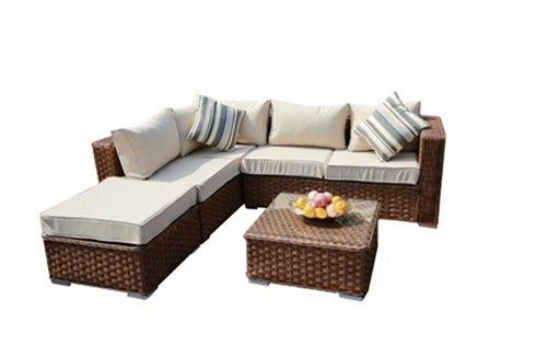 Yakoe 50128 2017 Papaver 5 Seater Rattan Garden Furniture Corner ...