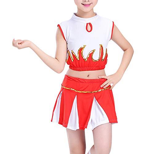 Tenthree Kinder Cheerleading Uniform - Mädchen Cheerleader Kostüm Pailletten Tanz Sportwettbewerb Kostüm Oberteile + ()