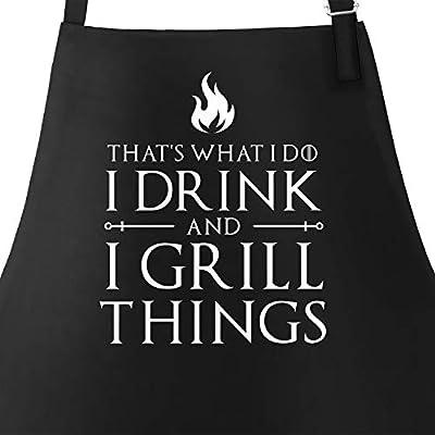 MoonWorks® Grill-Schürze für Männer mit Spruch I Drink and I Grill Things Grillschürze Baumwoll-Schürze Küchenschürze Kochschürze Grillen Barbecue BBQ Fleisch Sommer