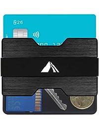 Original EDELMANN HAMBURG - Premium Kreditkartenetui Herren aus Aluminium mit RFID / NFC Schutz - Kartenetui und Geldklammer - Bis zu 16 Karten INKL. 4 Bänder, Mini Geldbörse / Portemonnaie klein