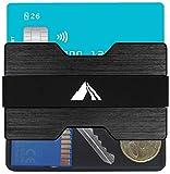 EDELMANN HAMBURG| Premium Kreditkartenetui aus Aluminium mit RFID / NFC Schutz - Mit Coincard für Münzen, Extrem hochwertig & edel mit vielen Extras - Kartenetui und Geldklammer - 4 Bänder - 16 Karten