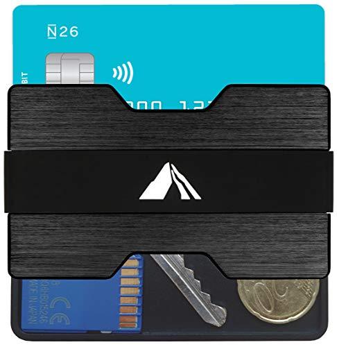 EDELMANN HAMBURG - Premium Kreditkartenetui aus Aluminium - RFID NFC Schutz - Slim Wallet mit Münzfach - Kartenetui mit Filzschicht gegen Kartenabrieb und 4 x Geldklammer - Geldbörse für Minimalisten
