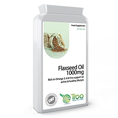 Flaxseed Oil 1000mg 90 Capsules - Potent Source of Omega Fatty Acids Essential Oils from Troo Health Care
