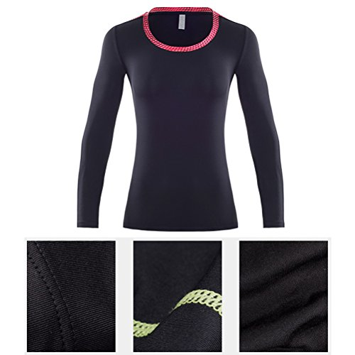 Zhuhaitf Womens Running Sports Compression Tight PRO Long Sleeve Séchage rapide Athletic Yoga T-shirt Top-Base Layer Black&Yellow