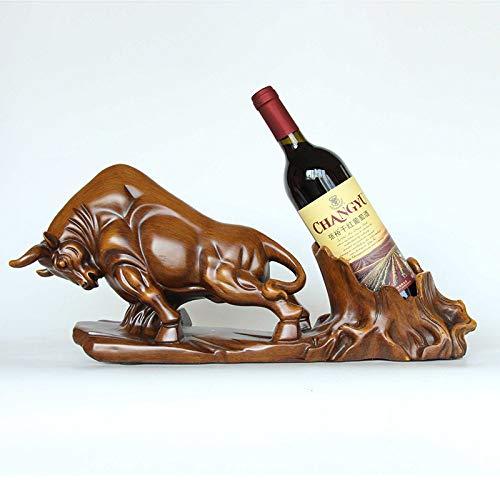 Botelleros Vino Sostenedor De Botellas, Resina De Grano De Madera Animales Arte...