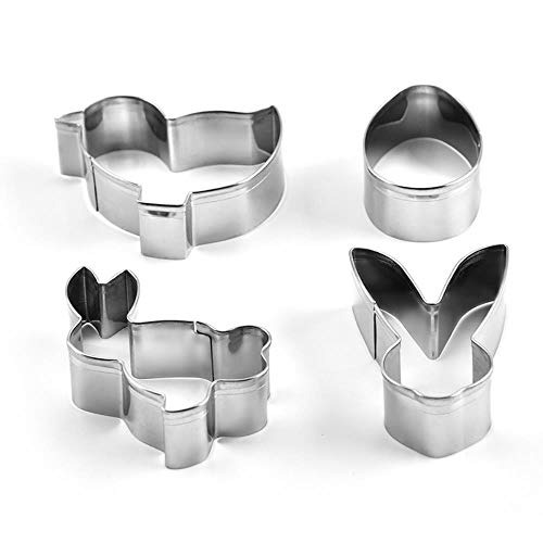 SULUO 4 stücke Set Edelstahl keks plätzchenform Ostern Geschirr 3D ausstecher DIY backdekor gebäck modellierwerkzeuge, a