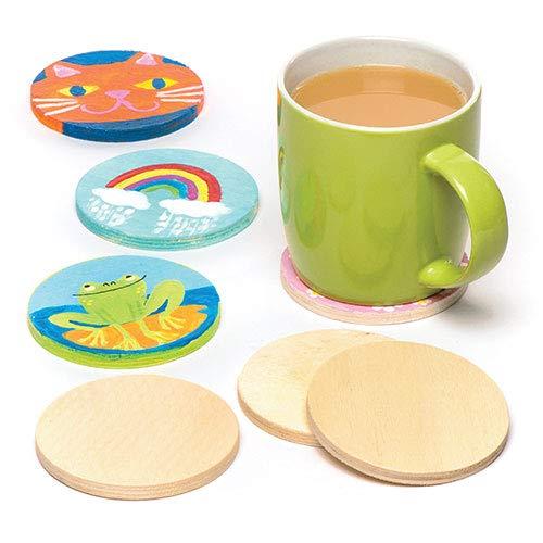 Baker Ross Blanko Holzuntersetzer - rund - für Kinder zum Bemalen - Geschenkidee - 10 Stück