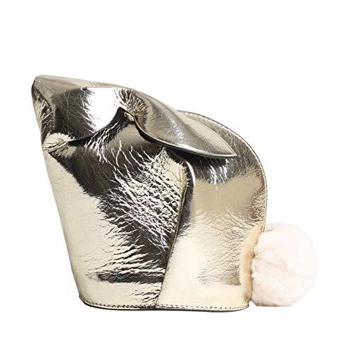 Damen Kuh Leder Handtasche, Reißverschluss kleine quadratische Tasche Handtasche Umhängetasche Umhängetasche, Kaninchen Tasche, geeignet für Arbeit und Freizeit Parteien-gold
