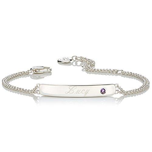 Molly Brown London Personalisierbares Armband mit Amethyst-Geburtsstein für Februar (Personalisierte Signatur-schmuck)