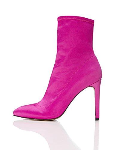 FIND Stiefel Damen mit Hohem Pfennigabsatz, Leichtem Glanz und mittiger Naht, Pink (Hot Pink), 41 EU (Glanz Pink Hot)