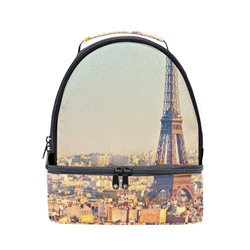 Frankreich Skyline Paris Romantischer Eiffelturm Tragbare Schule Schulter Tote Lunchpaket Handtasche Kinder Doppel Lunchbox Wiederverwendbare Isolierte Kühler Für Frauen Student Reise Outdoor -