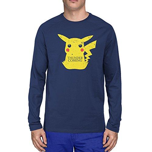 Planet Nerd - Thunder is coming - Herren Langarm T-Shirt, Größe S, (Costume Pokemon Trainer Red)