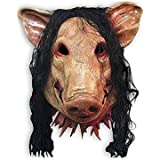 Cosplay Dress Up Props Halloween Masquerade Pig Head Mask With Hair Tricky Horror Toys