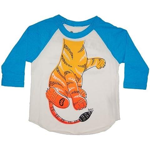 PeekAZoo ToddlerBecome an Animal3/4 Sleeve Raglan - Tiger Turquoise - 4T by Peek A Zoo