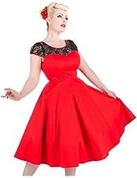 Ladies 40's 50' S Classic Vintage rojo negro encaje insertar fiesta Prom Vestido de cóctel