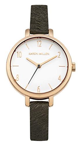 Karen Millen Women's Quartz Watch with White Dial Analogue Display and Grey Leather Strap KM138ERG
