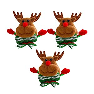 BESTOYARD Weihnachten Brosche Pins LED Licht Blinky Plüsch Rentier mit Schleifen Abzeichen Weihnachten Deko 3 Stück