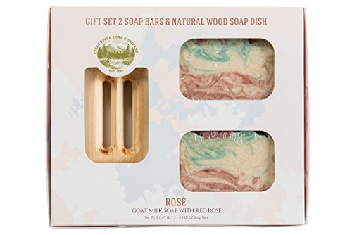 Red Rose Goat Milk Soap Bar - Handmade Organic Herbal Bar with Therapeutic Essential Oils. Natural Moisturizing Body Soap for Skin and Face. With Goat Milk, Shea Butter