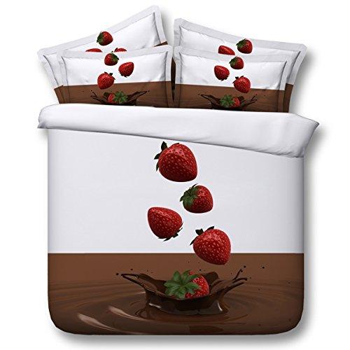 HUANZI Polyester-Bettbezug Schokolade und Erdbeer-Muster Bettbezug mit Bettwäsche inklusive 2 Kissenbezüge und 1 Bettbezug, 200 * 225 -
