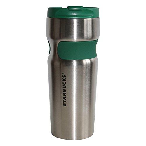 Starbucks Edelstahlthermobecher Silber GrünTumbler Becher Griffmulde Anti Rutsch Band 16oz/473ml (silber/grün)