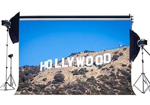 BuEnn 5X3FT Hollywood Hintergrund Natur Landschaft Kulissen Verwitterte Berge Dschungel Wald Bäume Blauer Himmel Frühling Fotografie Hintergrund Sterne Schauspieler Porträts Fotostudio Requisiten