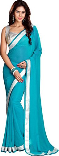 Sarees (Women\'s Clothing Saree For Women Latest Design Wear Sarees New Collection in Gold Coloured Georgette Material Latest Saree With Designer Blouse Free Size Beautiful Bollywood Saree For Women P