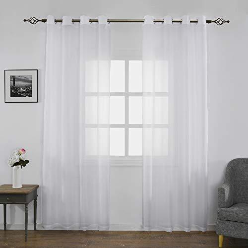 FLOWEROOM Transparent Voile Gardinen - Einfarbige Durchsichtig Vorhänge mit Ösen für Wohnzimmer 245x140 cm Weiß 2er Set - Wohnzimmer-sets Für Vorhänge
