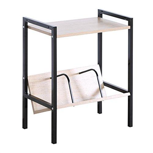 WOLTU RGB9306hei Standregal Bücherregal Couschtisch Metallregal Nachttisch aus Holz und Stahl, mit 2 Ablagen, klein, ca. 52 x 28 x 59 cm, Schwarz + Hell Eiche -