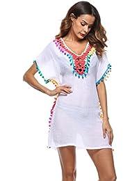 Homebaby - Copricostume Mare Donna Nappa Camicia - Copribikini in Cotone  sui Costume da Bagno Sexy - Kimono Vestito Lungo Estate… 675e9ddfe3e