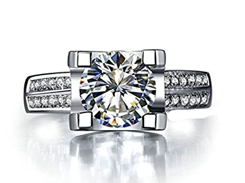 AMDXD Jewelry Sterling Silver Women Promise Customizable Rings 2 Rows Shiny CZ Size V 1/2