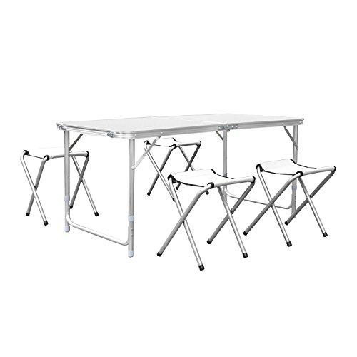 HOMFA 120cm Campingtisch Klapptisch Set mit 4 Klappstühle Aluminium. Höhenverstellbarer Klapptisch Campingmöbel als Gartentisch, Falttisch, Reisetisch, zum Camping uvm. (weiß, 120cm)