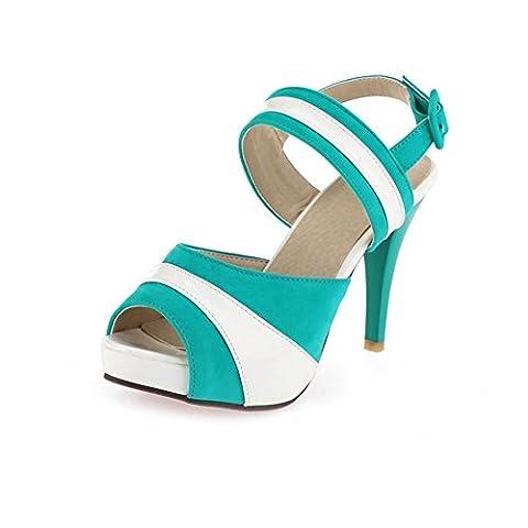 Adee Damen Peep-Toe-sortiert Farbe Leder Sandalen, Blau - Türkis - Größe: 36