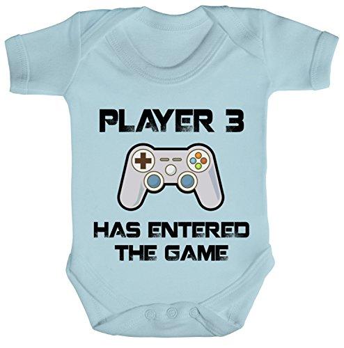 ShirtStreet Vatertag Gamer Geek Nerd Strampler Bio Baumwoll Baby Body kurzarm Player 3 has entered the Game, Größe: 6-12 Monate,Dusty Blue