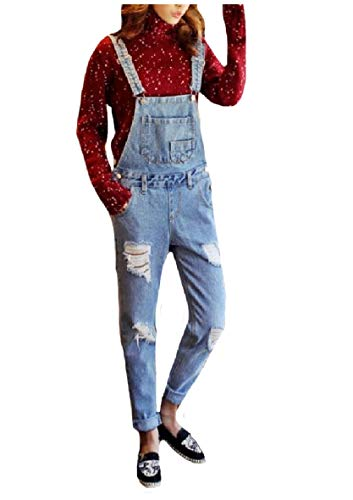 CuteRose Womens Denim Zerstört Skinny Jeans Hose Bib Hose Overalls Light Blue XS