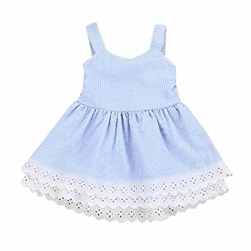 Junjie Stripe Lace Party Pageant Princess Dresses Toddler Kids Baby Girl Summer Clothes (3T, Blue)