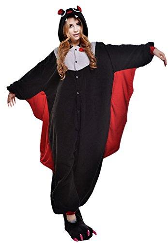 Engerla Lounge Wear Erwachsene Halloween Tier Einteiler Pyjama Cosplay Kostüme Outfit Gr. X-Large, Bat