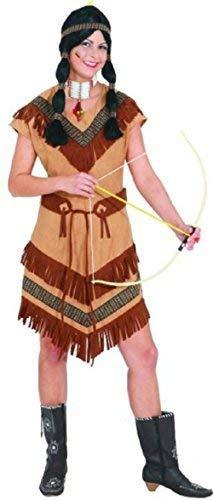 Fancy Me Damen Indianer American Squaw Scout Wilder Westen Nationalkostüm Kostüm Kleid Outfit UK 8-24 Übergröße - Braun, UK 16 (EU 44)