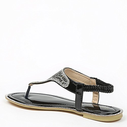 Ideal-Shoes Sandali piani Maelyn, decorate con strass Nero (nero)