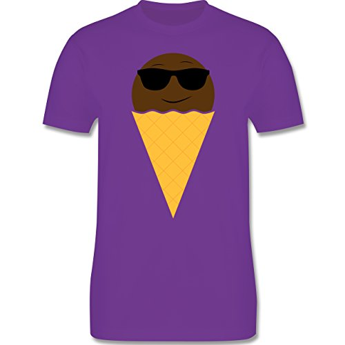 Lustige Sprüche und Motive - Eiswaffel mit Sonnenbrille - L190 - Premium Männer Herren T-Shirt mit Rundhalsausschnitt Lila
