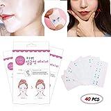 Kalolary Visage Lifting Patch Invisible Artefact Autocollant Ascenseur Menton Mince Visage Ruban Adhésif Maquillage Face Lift Outils de Beauté (40 PCS/Box)
