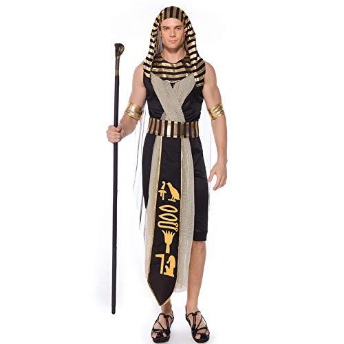 Pharao Männlich Kostüm - COSOER Alten ägyptischen Monarchen König Cosplay Kostüm Pharao Amon-La Gott Sohn Mama Halloween Party Kleidung Für Erwachsene Männer,XL