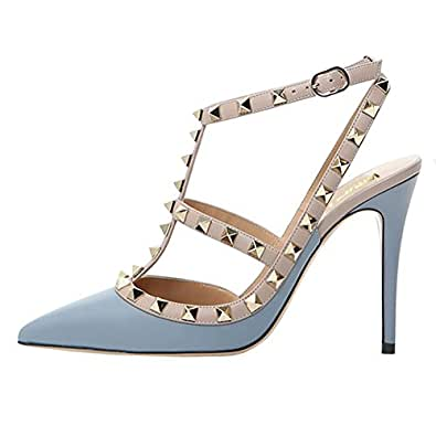 96f5949979669 EKS Women s Pointed Toe Rivets Straps Strappy Stilettos Pump Heels Dress  Party Sandals Matte Blue 35