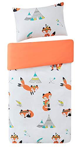 Kinder Bettwäsche 135x200cm Orange 100% Baumwolle 2-teilig Bettbezug Kopfkissenbezug 50x7