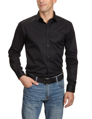 JACK & JONES PREMIUM Herren Hemd mit Manschetten Slim Fit 12020857 Andrew Shirt L/S Tight Fit, Gr. 56 (XXL), Schwarz (BLACK)