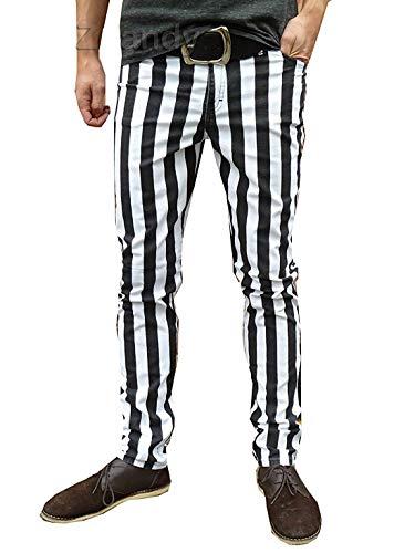 Fuzzdandy Röhren Skinny Hose Jeans Gestreift Mod Indie Weiß Schwarz - weiß und schwarz, 36