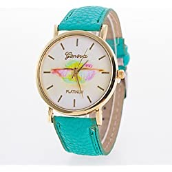 Beautiful Watches , New Arrival Geneva Casual Ladies Wristwatch With Pu Leather Band Women's Watches Of Lip Printed On The Dial Cheap Price Cool Watches Unique Watches